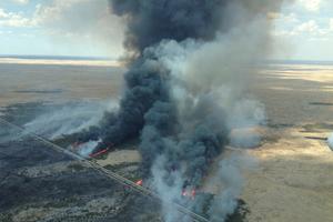 A large fire burns in Kiana, in South Australia's Lower Eyre Peninsula. Photo / AP