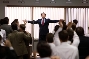 Leonardo DiCaprio as Jordan Belfort in a scene from The Wolf of Wall Street.