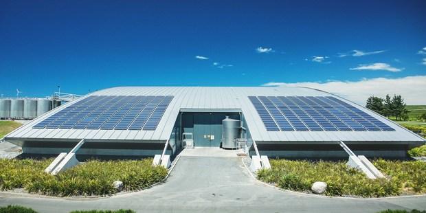 Powersmart Solar's 99kW solar panel installation at Yealands Estate winery in Blenheim.