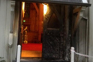The fire damage at St Mary's Church. Photo / Newstalk ZB