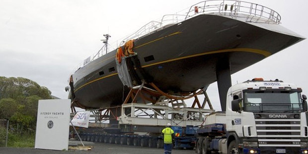 The 50m Sloop Ohana, leaves the Fitzroy Yachts plant in New Plymouth.