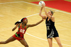 Mwai Kumwenda of Malawi and Casey Kopua of New Zealand compete for the ball during the International Test Match between the New Zealand Silver Ferns and the Malawai. Photo / Getty Images