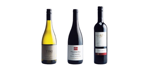 Tiki Single Vinyard Marlborough Sauvignon Blanc; Folding Hill Bendigo Central Otago Pinot Noir; Newton Forest Stony Corner Gimblett Gravels Hawkes Bay. Photo / Supplied.