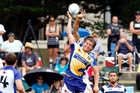 Bay of Plenty's David Fraser challenges for the ball against Auckland at the BOP Sevens in January.
