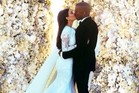 Kim Kardashian and Kanye West during their wedding. Photo / Instagram