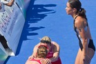 Andrea Hewitt was left with disappointed as England grabbed two medals in the women's triathlon. Photo / Greg Bowker