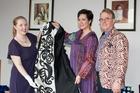 Museum curator Lizzie Wratislav with May-Ana Tirikatene-Sullivan and Denis Sullivan.