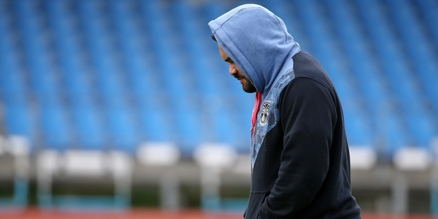Konrad Hurrell had to watch training from the sidelines at Mt Smart yesterday. Picture / Getty Images