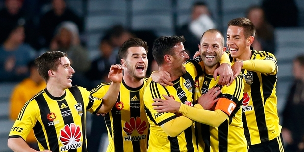 Andrew Durante (second from right) will never forget the goal he scored to put his team in front against West Ham United at Eden Park. Photo / Getty Images
