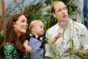 Britain's Prince William and Kate Duchess of Cambridge and the Prince during during a visit to the Sensational Butterflies exhibition at the Natural History Museum, London. Photo / John Stillwell/AP