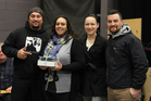 Napier's winning short film-maker Ali Beal (second left) with Tipene Harmer, left, from AWA Transmedia, Maori TV reporter Aroha Treacher and Hamahona Ambler from Ngati Kahungunu Iwi Inc.