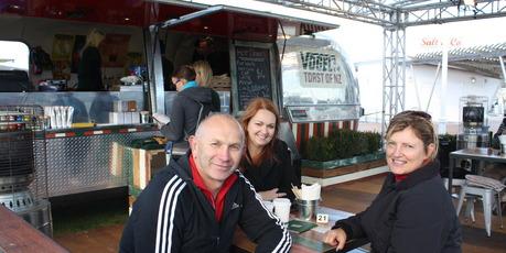 Tauranga residents (from left)  Ross Watson, Amanda McFadden and Liz Watson enjoying the pop-up cafe on the waterfront. PHOTO/REBECCA SAVORY