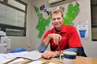 TEDx speaker Marty Hoffart at his Waste Management office.