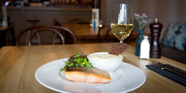 Akaroa King Salmon confit at Touquet.  Photo / Sarah Ivey