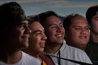 Rotorua Boys' High School reggae band Open Arms (from left) Wirihana Te Rangi, Terence Apiata, Tawhirimatea Witoko, Arapeta Paea and Te Hakaraia o te Rangi Wilson prepare for the SmokeFree Pacifica Beats regional finals this Saturday. PHOTO: STEPHEN PARKER