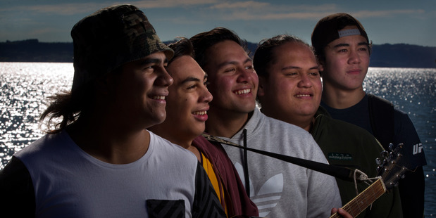 Rotorua Boys' High School reggae band Open Arms (from left) Wirihana Te Rangi, Terence Apiata, Tawhirimatea Witoko, Arapeta Paea and Te Hakaraia o te Rangi Wilson prepare for the SmokeFree Pacifica Beats regional finals this Saturday. PHOTO: STEPHEN PARKER