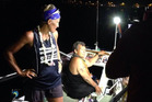 New Zealander Tara Remington, left, and American Angela Madsen at the finish of their epic 4000km row across the Pacific Ocean from long Beach California to Waikiki, Hawaii.