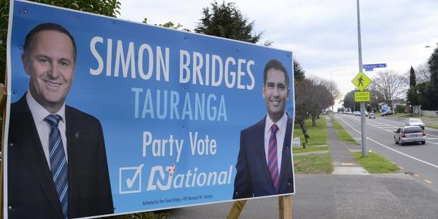 Tauranga MP Simon Bridges is among the candidates who began  erecting election hoardings during the weekend. Photo / George Novak