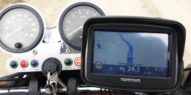 The TomTom Rider was easy to use in glove mode - and (mostly) easy to read. Photos / Jacqui Madelin