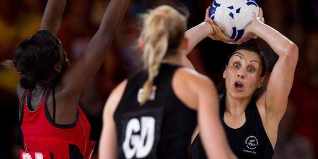 Silver Fern Joline Henry passes the ball during their win over Malawi. Photo / Greg Bowker