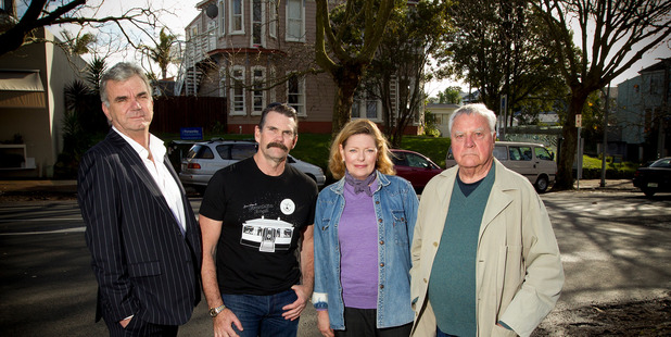 Franklin Road residents (from left) Bill Ralston, Ross Thorby, Janet Wilson and Hamish Keith. Photo / Getty Images