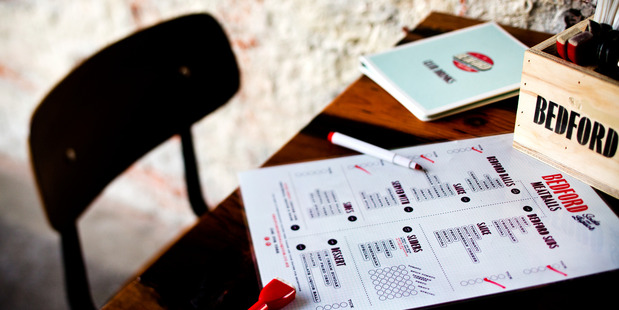 Interactive menu at Bedford Soda & Liquor in Ponsonby Central. Photo / Babiche Martens.