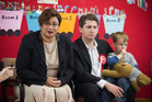 Green Party co-leader Metiria Turei with Labour Party MP Michael Wood with his son 3-year-old Daniel.