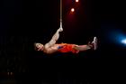 Rings acrobat Gael Ouisse in Cirque du Soleil's Totem.