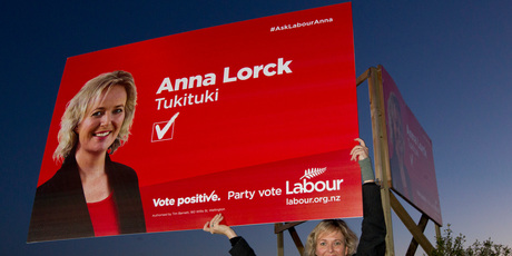 Labour's Tukituki candidate Anna Lorck was back out re-erecting an election hoarding in Havelock Rd last night after being told to take it down yesterday morning. Photo / Glenn Taylor