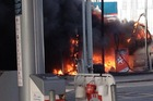Onlookers were horror-struck as a burning truck sparked a fierce fire at a Caltex service station on Omahu Rd, Hastings.