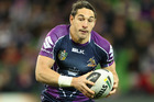 The Storm's Billy Slater in action against the Canberra Raiders in Melbourne. Photo / Getty Images