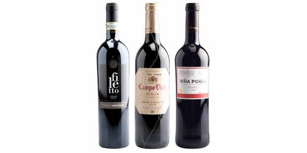 Poggio Nicchiaia Filetto Chianti, Italy 2011; Campo Viejo Rioja Gran Reserva, Spain 2005; Vina Pomal Rioja Crianza, Spain 2010.