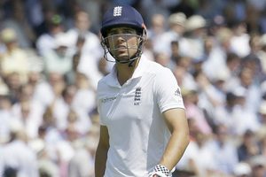 England's captain Alastair Cook leaves the field after dismissed at Lord's. Photo / AP