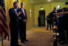 US Secretary of State John Kerry and UN Secretary General Ban Ki-Moon speak to reporters in Cairo, Egypt. Photo / AP