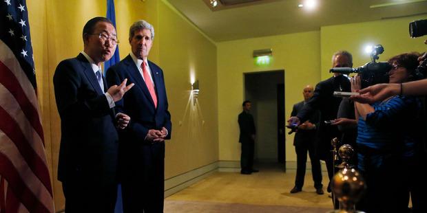US Secretary of State John Kerry and UN Secretary General Ban Ki-Moon speak to reporters in Cairo, Egypt. Photo / AP