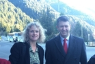 David Cunliffe, with Labour candidate Liz Craig in Queenstown, where he took his break after two days in bed with flu.