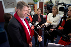 Labour Party leader David Cunliffe holds a press conference at his electorate office. Photo /