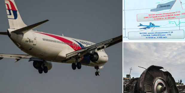 Russian officials say a Ukrainian fighter flew close to the Malaysia Airlines jet before it was downed. Photo / AP