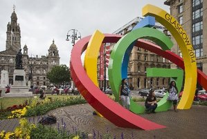 Georges Square in central Glasgow is adorned with the XX Commonwealth Games logos. Photo / Greg Bowker
