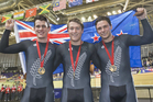 Sam Webster, Ethan Mitchell and Eddie Dawkins celebrate their gold medal at the Commonwealth Games. Photo / Greg Bowker