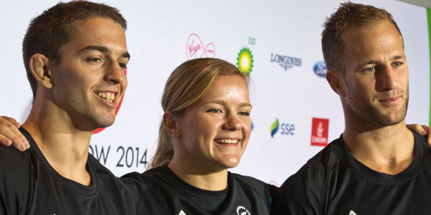 Three of New Zealand's highly-rated judo team, Ivica Pavlinic, Moira de Villiers and Ryan Dill-Russell. Photo / Greg Bowker