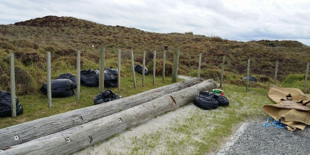 At least 11 bags of rubbish was dumped at Papamoa Beach's Harrison's Cut at the weekend.