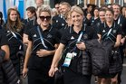 New Zealand Black Sticks Gemma Flynn and Emily Nalyor with the rest of New Zealand team were officially welcomed to Glasgow. Photo / Greg Bowker
