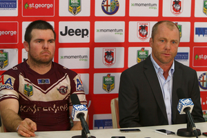 Manly coach Geoff Toovey and captain Jamie Lyon speak to the media after their side's win over the Dragons. Photo / Getty Images