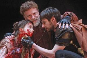 A scene from the Shakespearean tale Titus Andronicus.
