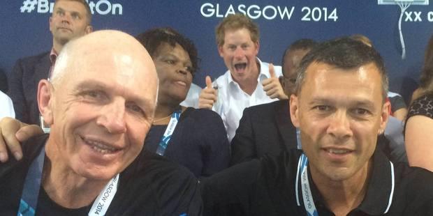Sir Gordon Tietjens, left, Prince Harry and Trevor Shailer. Photo / Facebook