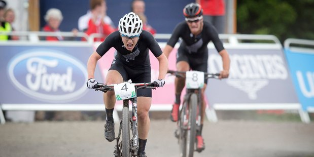 New Zealand riders Anton Cooper and Sam Gaze completed a gold-silver performance in the cross country mountain biking. Photo / Greg Bowker