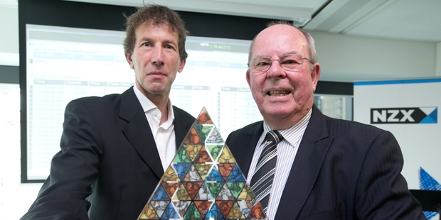 Sir John Goulter (right) - pictured yesterday with Nigel Rigby - says the value-added glass processing market is forecast to grow. Photo / Richard Robinson