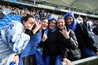 SWEET AS: Mangakahia supporters, Monica Rakich (left), Shortland Rai, Kirsty Tuhiwai, Cherich Schraag and Ashley Henare during the final moments of the Division Two rugby final at Toll Stadium.