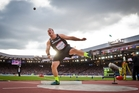 New Zealand men's shot put champion Tom Walsh delivered a consistent performance at Hampden Park  in Glasgow  and went on to win a silver medal. Picture / Greg Bowker